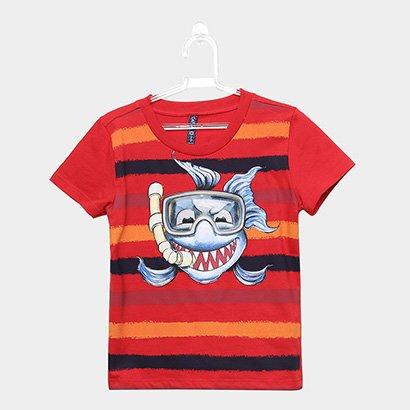 Camiseta Infantil Cativa Listrada Tubarão Masculina