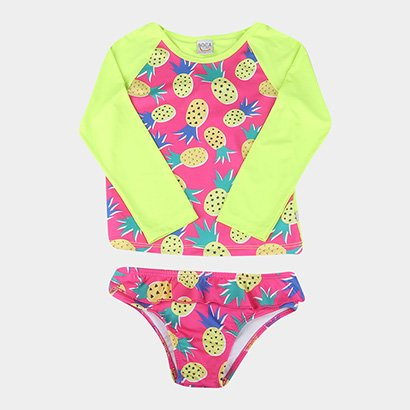 Conjunto Infantil Boca Grande Camiseta Manga Longa E Calcinha Com Proteção UV...