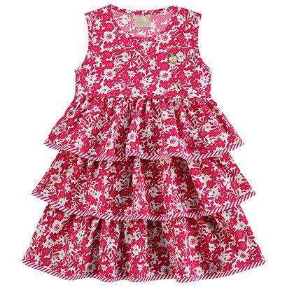 Vestido Infantil Regata Estampado Camadas