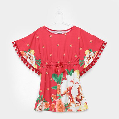 Vestido Infantil Nanai Floral Cetim Elastano