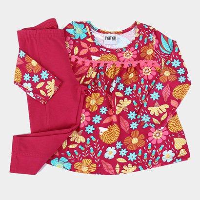 Conjunto Bebê Nanai Meia Malha Bata Floral Feminino