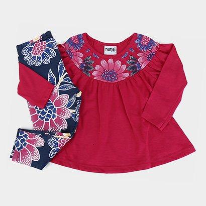 Conjunto Bebê Longo Nanai Meia Malha Floral Feminino