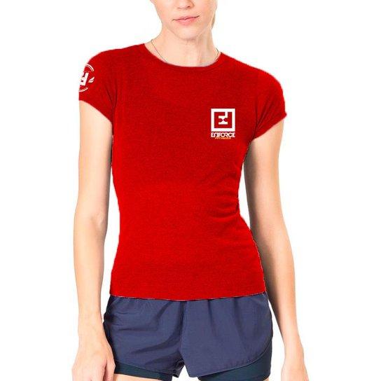 b49d54f96 Camiseta Baby Look Feminina de Treino - Enforce Fitness-GG-Cinza - Vermelho