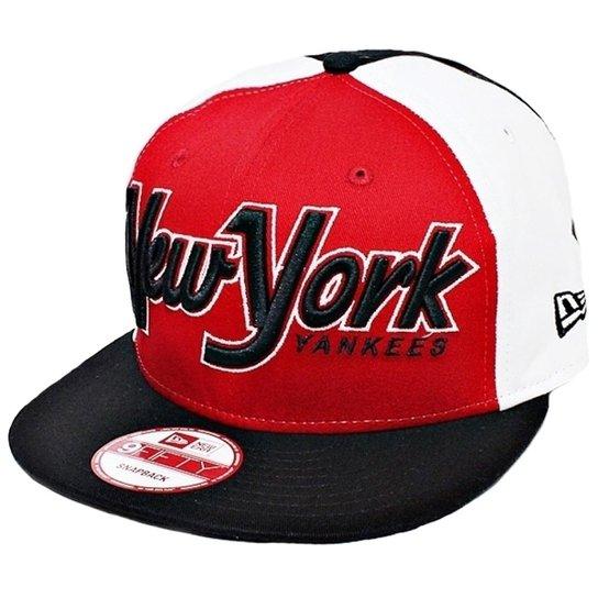 d9e0549c7d017 Boné New Era Aba Reta Snapback Mlb Ny Yankees Snapitback - Vermelho ...