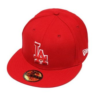 Boné New Era Aba Reta Fechado Mlb Los Angeles Basic Outline