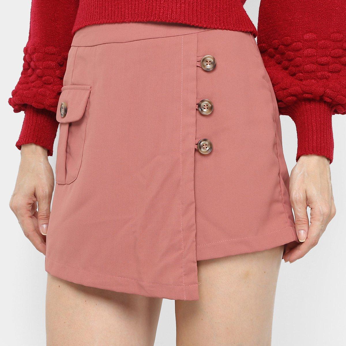 Foto 1 - Shorts Saia Adooro! Com Bolso E Botões Feminino
