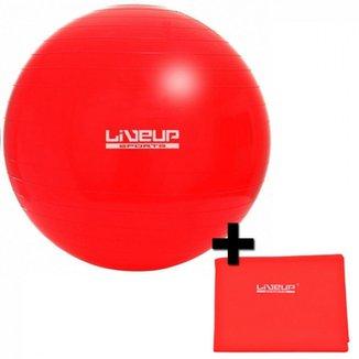 Kit Bola Suica 45 Cm + Faixa Elastica Intensidade Leve Vermelha LiveUp 071ada2562f5