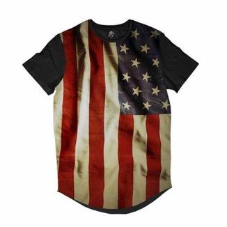 f4891d4f74 Camiseta BSC Longline Bandeira Estados Unidos Masculina