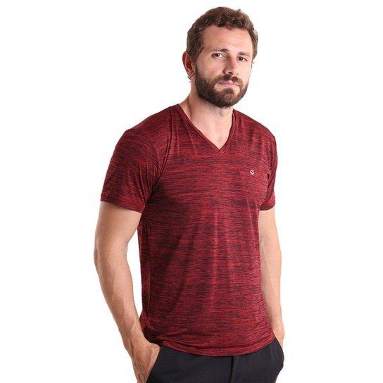 32219061f Camiseta Masculina gola V Mescla - Vermelho - Compre Agora