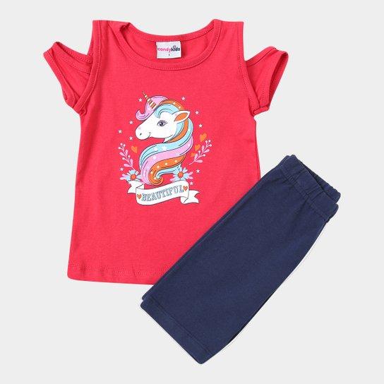 61d1821abc Conjunto Infantil Candy Kids Blusa Shorts Feminino - Vermelho