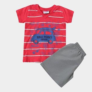 bcff21dd9 Conjunto Camiseta Kombi + Bermuda Infantil Candy Kids Masculino