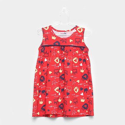 Vestido Infantil Candy Kids Coroa Estampado