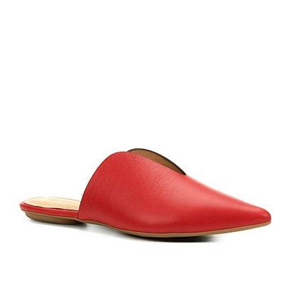 Mule Couro Shoestock Recorte A Fio Feminina
