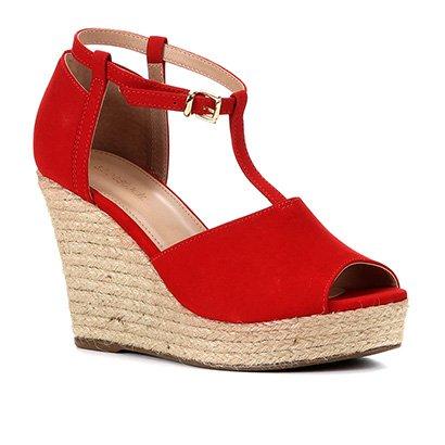 Sandália Plataforma Shoestock Corda Nobuck Feminina
