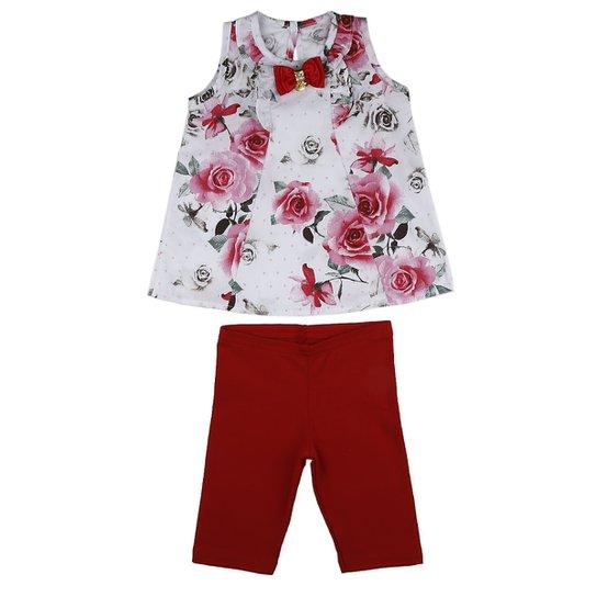 Conjunto Infantil Para Bebê Menina Vermelho - Compre Agora  d621e1d960030