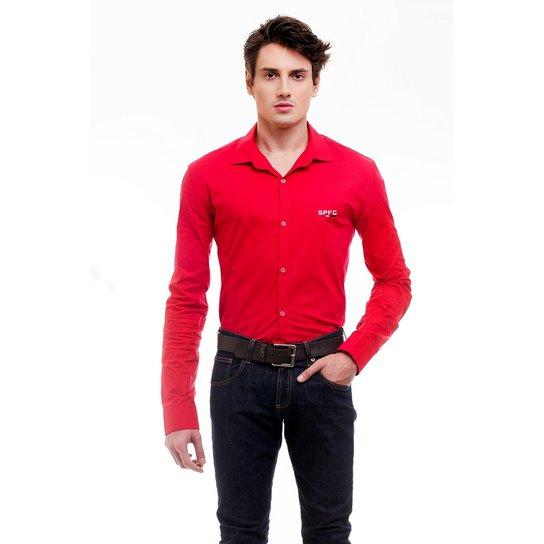 Camisa Social Hat Trick São Paulo - Vermelho - Compre Agora  c59952575afe8