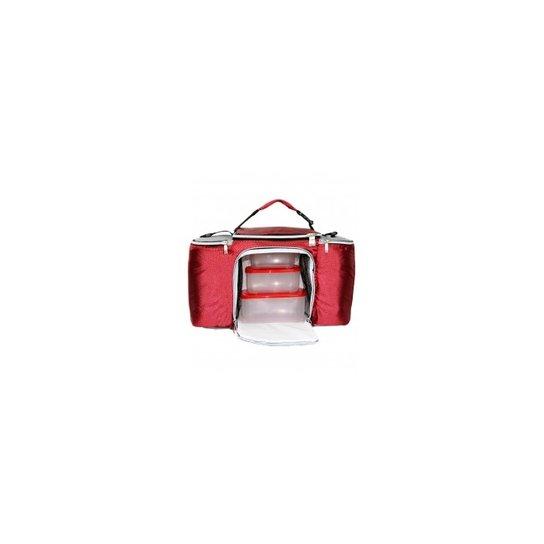 edc4f41c8 Bolsa Termica Lancheira Fitness Marmiteira Grande Com Potes E Acessorios  Vermelha E Cinza - Vermelho