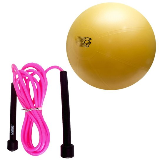 2788e409f Kit Bola Fit Ball Training 75Cm Com Bomba De Ar Pretorian + Pula Corda Rosa  Liveup