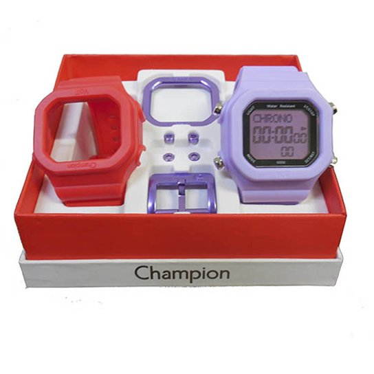 74ace33806c Relógio Unissex Champion Digital Cp40180x Troca Pulseira - Vermelho+Lilás