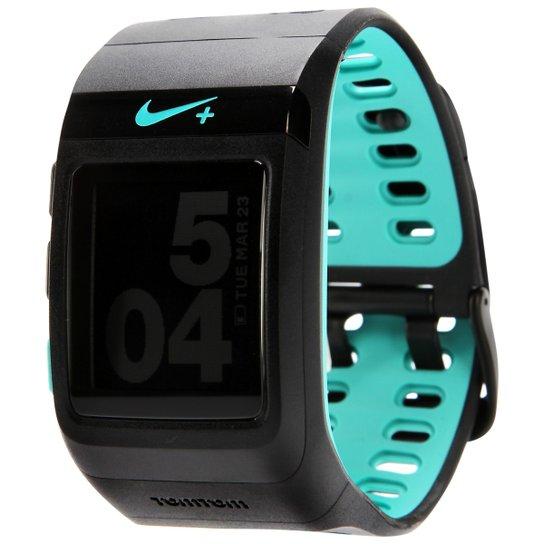 711495af32a Relógio Nike+ Sportwatch GPS - Preto+Azul Turquesa