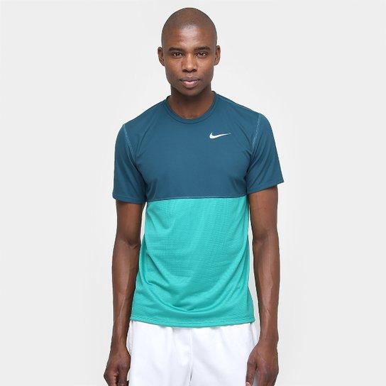 Camiseta Nike Dri-Fit Racer - Azul Petróleo+Azul Claro e4efad1a6ba12