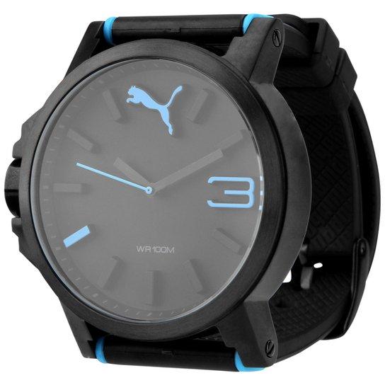 a1e8f9bbb72 Relógio Puma Ultrasize - Preto+Azul Turquesa