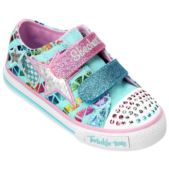 23a8ab005a2 Tênis Skechers Twinkle Toes Shuffles Infantil - Azul Piscina+Rosa