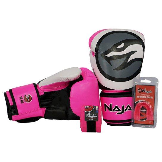 cf3182f08 Kit Luva Boxe Muay Thai Naja Colors + Bandagem + Protetor Bucal 10Oz - Rosa