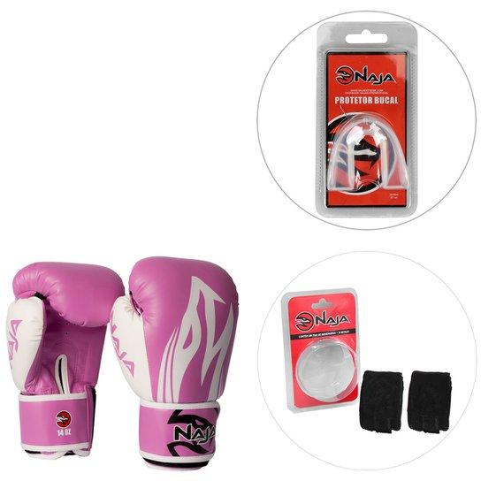 ec49eb658 Kit Luva de Boxe   Muay Thai Naja Extreme 14OZ + Bandagem Elástica 2 ...
