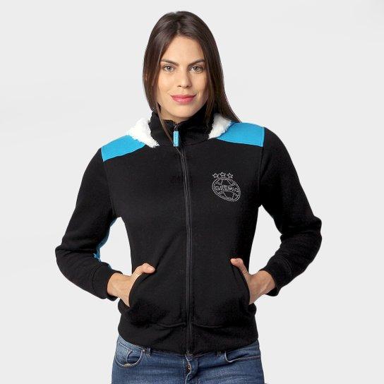 Moletom Grêmio c  Capuz Feminino - Preto+Azul Turquesa db09a7cea5a0a