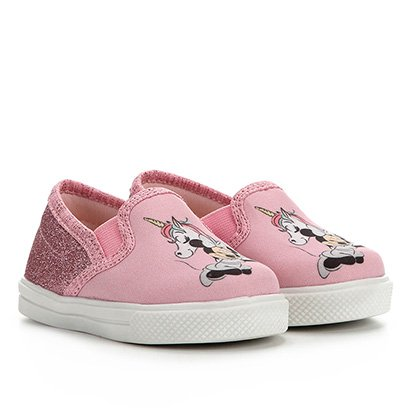 Tênis Infantil Disney Slip on Minnie Gliter