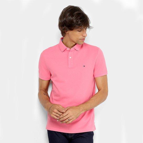 3acd02581d Camisa Polo Tommy Hilfiger Básica Masculina - Rosa