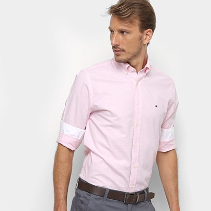 Camisa Tommy Hilfiger Manga Longa Basic Light Oxford Masculina