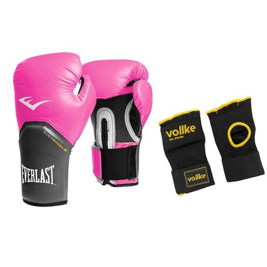 0a987ec44 Kit Feminino Muay Thai Luva Everlast Elite 12OZ Rosa e Bandagem Gel Rápida  Vollke - Rosa