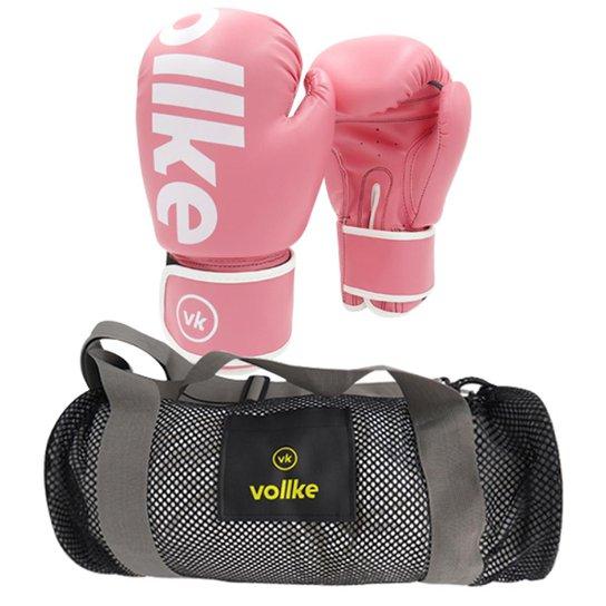 ee1fe21c1 Kit Feminino Vollke Luva Muay Thai 4Ladies 12OZ e Bolsa Gym Mesh - Rosa