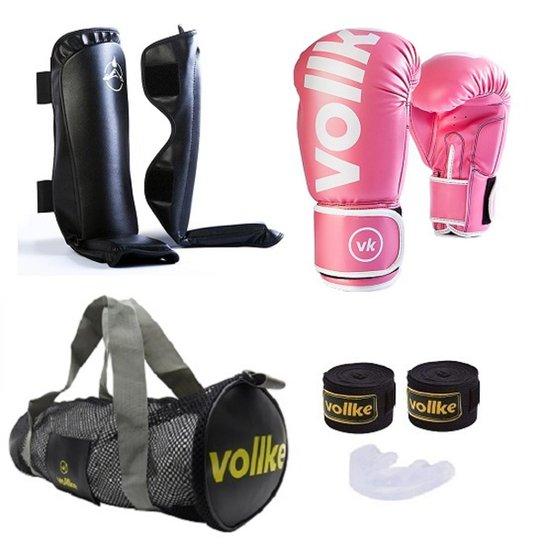 8ccbfabda Kit Muay Thai Feminino Vollke Completo Fighter 12OZ + Bolsa Gym - Rosa