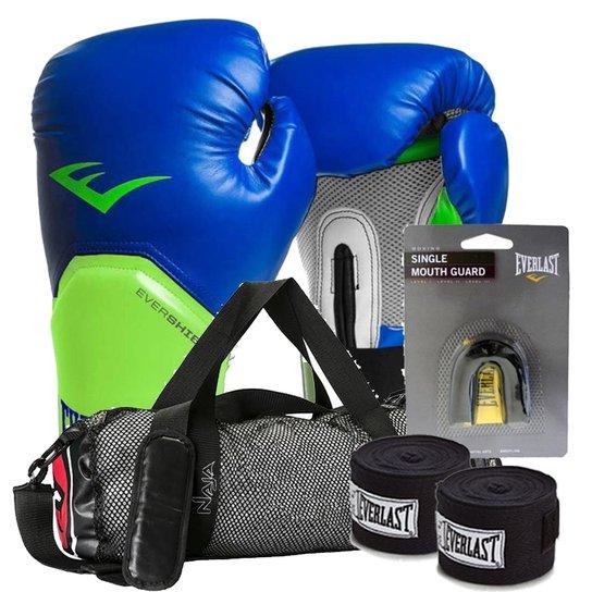 b02c54eb3 Kit Boxe Elite Everlast + Bolsa Naja 12Oz Azul Com Verde - Compre ...