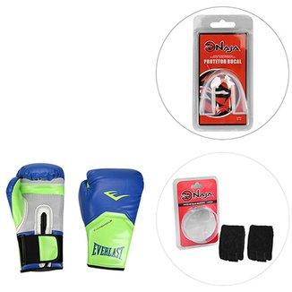 61dce7c837 Kit Luva de Boxe Muay Thai Everlast Pro Style Elite Training 14 oz +Bandagem