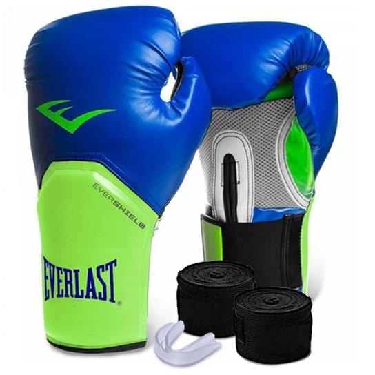 b8932b708 Kit Muay Thai Luva Everlast 12OZ Bandagem Bucal - Azul+Verde