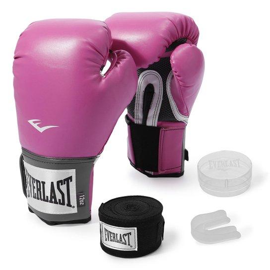 7e391a21e Kit Luva de Boxe Everlast Training 12 Oz + Bandagem - Rosa