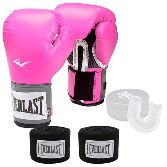 115077baa Kit Feminino Boxe   Muay Thai Training Everlast Luva 12OZ Bandagem e Bucal  - Rosa