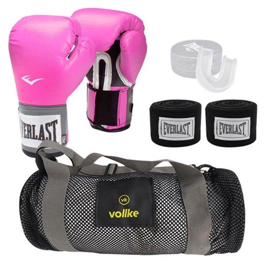 856118e84 Kit Muay Thai Training Everlast Luva Bucal Bandagem e Bolsa Vollke - Rosa
