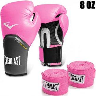 dcb6e22c84 Luva Boxe Everlast pro Style Elite 8 Oz + 2 Bandagens