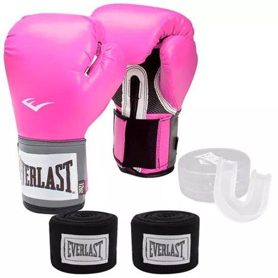 f8eca01ba494a Kit Training Luva Boxe Muay Thai + Bandagem + Protetor Bucal Everlast - Rosa