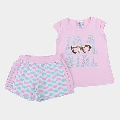 Conjunto Infantil Pulla Bulla Blusa + Short Molecotton Feminino
