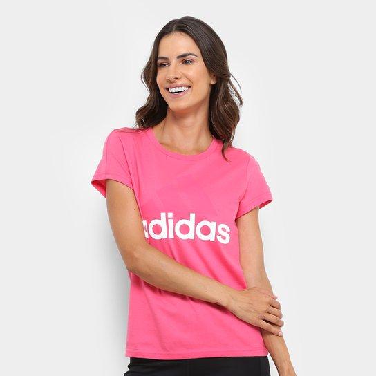 5c7cede7cd Camiseta Adidas Essentials Linear Feminina - Rosa - Compre Agora ...