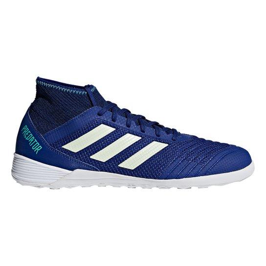 b4059be051dd9 Chuteira Futsal Adidas Predator 18 3 IN - Azul e Verde | Netshoes