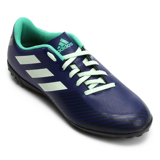 Chuteira Society Adidas Artilheira 18 TF - Azul e Verde - Compre ... 0d43dba4141fb