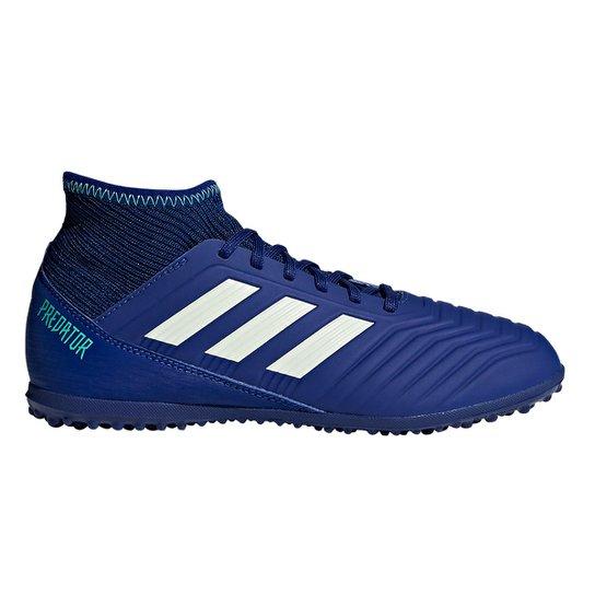 Chuteira Society Infantil Adidas Predator 18.3 TF - Azul e Verde ... 666a4c779f54e