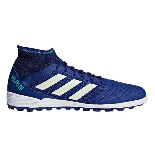 Chuteira Society Adidas Predator 18 3 TF - Azul e Verde - Compre ... ae19527c5d78a